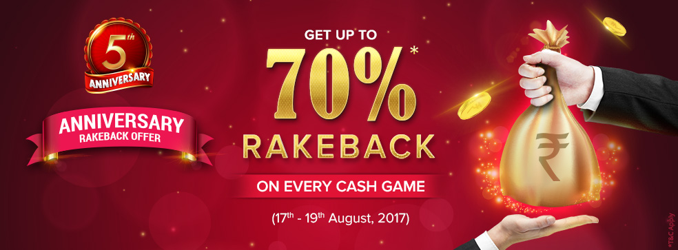 Anniversary Rakeback Offer at KhelPlay