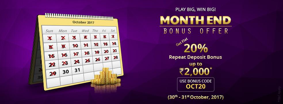 khelplay rummy bonus month end