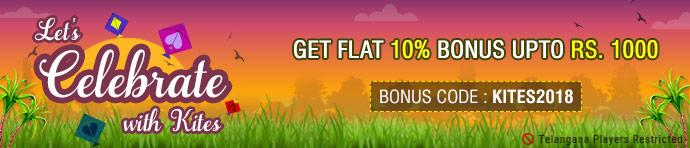 KITES2018 Sankranti Ace2Three Rummy Bonus Offer
